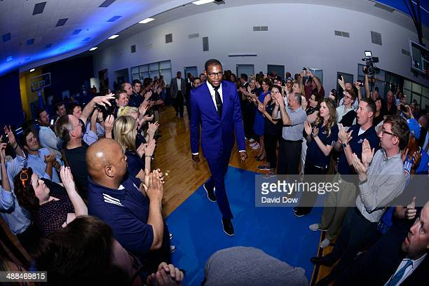 Kevin Durant of the Oklahoma City Thunder arrives for the 2014 KIA Player of the Year award during a press conference on May 6 2014 at the Thunder...