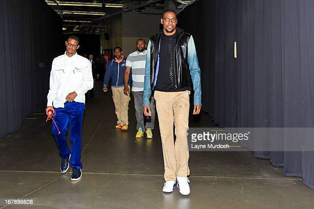 Kevin Durant of the Oklahoma City Thunder arrives to play against the Houston Rockets in Game Five of the Western Conference Quarterfinals during the...