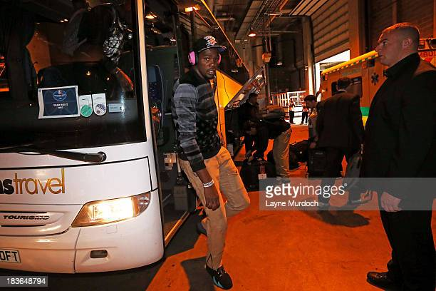 Kevin Durant of the Oklahoma City Thunder arrives to play the Philadelphia 76ers in a preseason NBA game as part of the NBA Global Games on October 8...