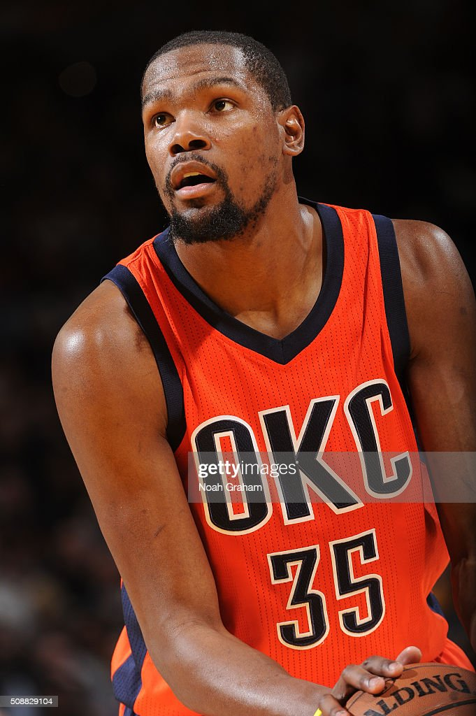<a gi-track='captionPersonalityLinkClicked' href=/galleries/search?phrase=Kevin+Durant&family=editorial&specificpeople=3847329 ng-click='$event.stopPropagation()'>Kevin Durant</a> #35 of the Oklahoma City Thunder attempts a free throw against the Golden State Warriors on February 6, 2016 at Oracle Arena in Oakland, California.