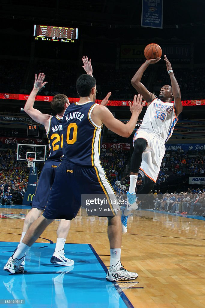 <a gi-track='captionPersonalityLinkClicked' href=/galleries/search?phrase=Kevin+Durant&family=editorial&specificpeople=3847329 ng-click='$event.stopPropagation()'>Kevin Durant</a> #35 of the Oklahoma City Thunder attempts the fade-away shot against the Utah Jazz during an NBA preseason game on October 20, 2013 at the Chesapeake Energy Arena in Oklahoma City, Oklahoma.