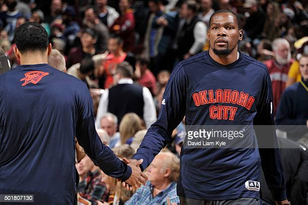 Kevin Durant of the Oklahoma City Thunder before the game against the Cleveland Cavaliers on December 17 2015 at The Quicken Loans Arena in Cleveland...