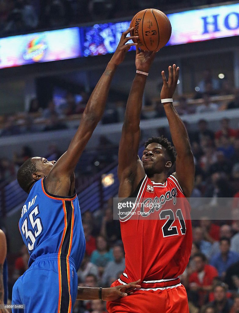 Kevin Durant #35 of the Oklahoma City Thunder blocks a shot by Jimmy Butler #21 of the Chicago Bulls at the United Center on November 5, 2015 in Chicago, Illinois. Note to User: User expressly acknowledges and agrees that, by downloading and or using the photograph, User is consenting to the terms and conditions of the Getty Images License Agreement.