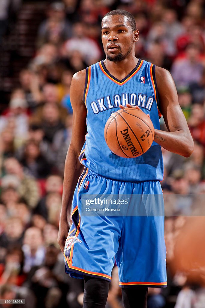 Kevin Durant #35 of the Oklahoma City Thunder brings the ball up court against the Portland Trail Blazers on January 13, 2013 at the Rose Garden Arena in Portland, Oregon.