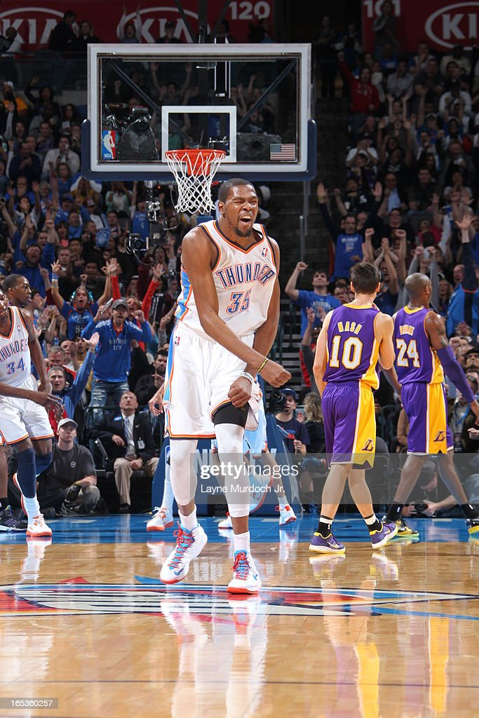 <a gi-track='captionPersonalityLinkClicked' href=/galleries/search?phrase=Kevin+Durant&family=editorial&specificpeople=3847329 ng-click='$event.stopPropagation()'>Kevin Durant</a> #35 of the Oklahoma City Thunder celebrates a shot against the Los Angeles Lakers on March 05, 2013 at the Chesapeake Energy Arena in Oklahoma City, Oklahoma.