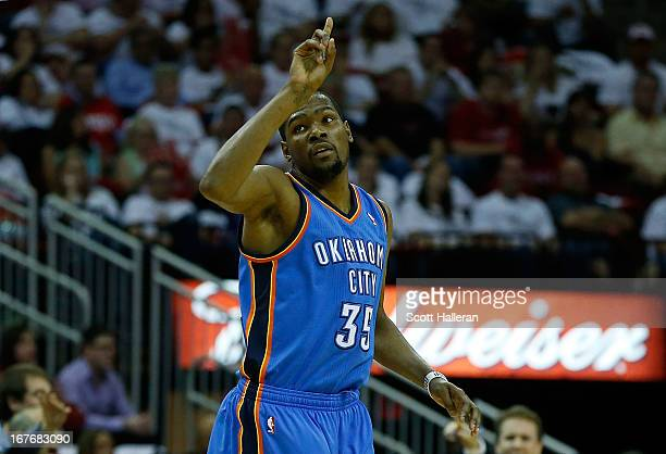 Kevin Durant of the Oklahoma City Thunder celebrates a shot against the Houston Rockets in Game Three of the Western Conference Quarterfinals of the...
