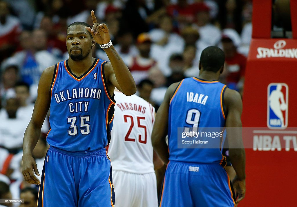<a gi-track='captionPersonalityLinkClicked' href=/galleries/search?phrase=Kevin+Durant&family=editorial&specificpeople=3847329 ng-click='$event.stopPropagation()'>Kevin Durant</a> #35 of the Oklahoma City Thunder celebrates a shot against the Houston Rockets in Game Three of the Western Conference Quarterfinals of the 2013 NBA Playoffs at the Toyota Center Arena on April 27, 2013 in Houston, Texas.