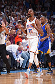 Kevin Durant of the Oklahoma City Thunder celebrates a shot in Game Four of the Western Conference Finals against the Golden State Warriors during...
