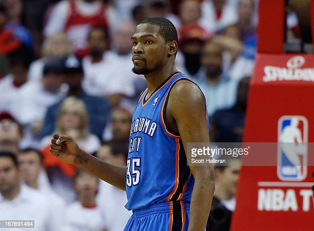 Kevin Durant of the Oklahoma City Thunder celebrates a shot in the fourth quarter against the Houston Rockets in Game Three of the Western Conference...
