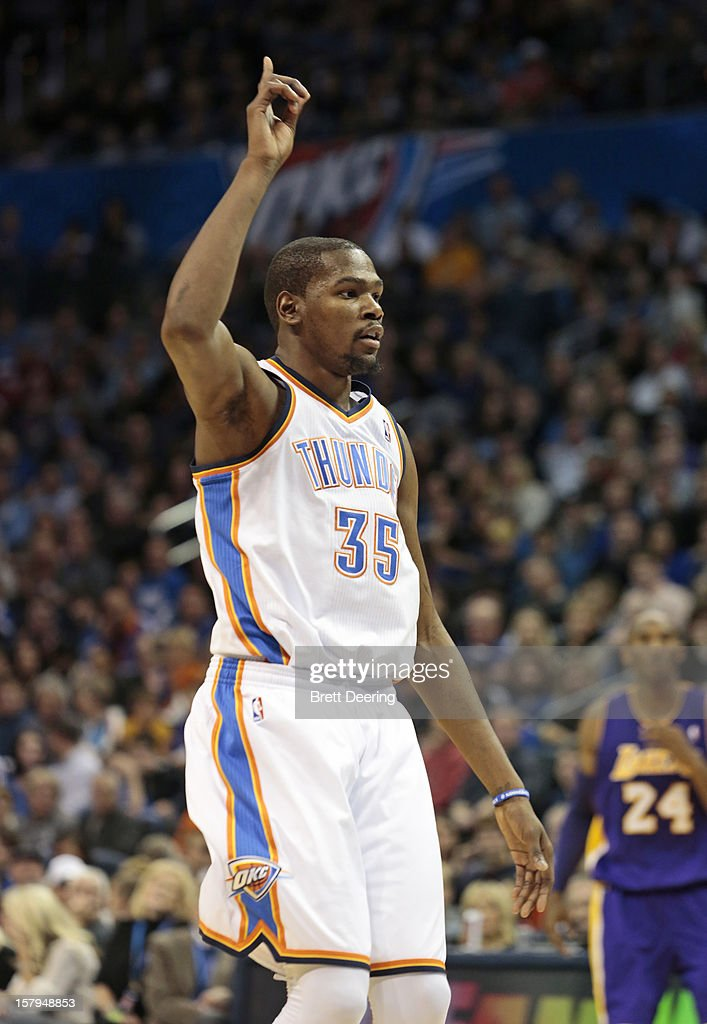 Kevin Durant #35 of the Oklahoma City Thunder celebrates after a free throw against the Los Angeles Lakers December 7, 2012 at Chesapeake Energy Arena in Oklahoma City, Oklahoma. Oklahoma City defeated Los Angeles 114-108.
