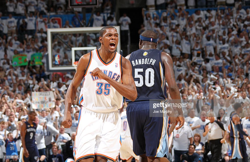 <a gi-track='captionPersonalityLinkClicked' href=/galleries/search?phrase=Kevin+Durant&family=editorial&specificpeople=3847329 ng-click='$event.stopPropagation()'>Kevin Durant</a> #35 of the Oklahoma City Thunder celebrates after a play against the Memphis Grizzlies in Game Five of the Western Conference Semifinals during the 2011 NBA Playoffs on May 11, 2011 at Oklahoma City Arena in Oklahoma City, Oklahoma.