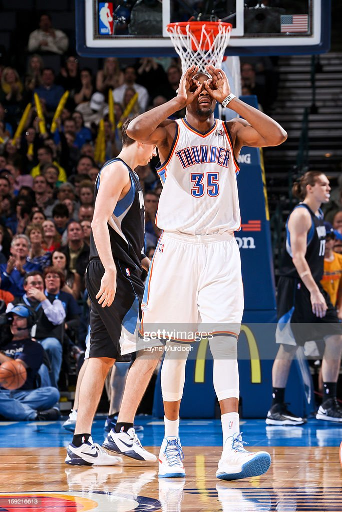 Kevin Durant #35 of the Oklahoma City Thunder celebrates after his team made three-pointer against the Minnesota Timberwolves on January 9, 2013 at the Chesapeake Energy Arena in Oklahoma City, Oklahoma.
