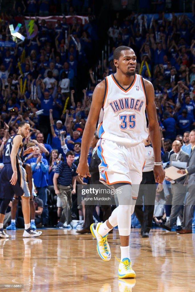 Kevin Durant #35 of the Oklahoma City Thunder celebrates after making a go-ahead shot late in the fourth quarter, leading to his team's victory, against the Memphis Grizzlies in Game One of the Western Conference Semifinals during the 2013 NBA Playoffs on May 5, 2013 at the Chesapeake Energy Arena in Oklahoma City, Oklahoma.