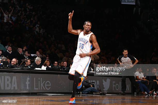 Kevin Durant of the Oklahoma City Thunder celebrates against the Brooklyn Nets at the Barclays Center on January 31 2014 in the Brooklyn borough of...