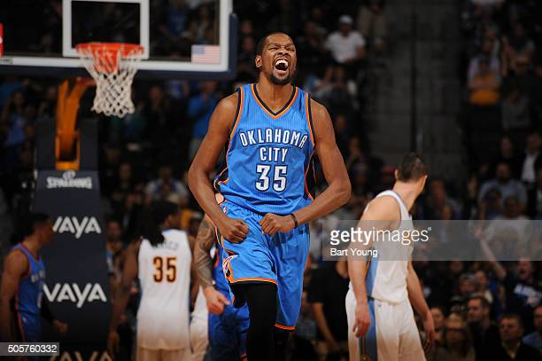 Kevin Durant of the Oklahoma City Thunder celebrates during the game against the Denver Nuggets on January 19 2016 at the Pepsi Center in Denver...