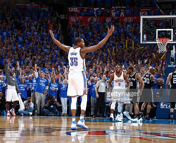 Kevin Durant of the Oklahoma City Thunder celebrates during the game against the San Antonio Spurs in Game Six of the Western Conference Semifinals...