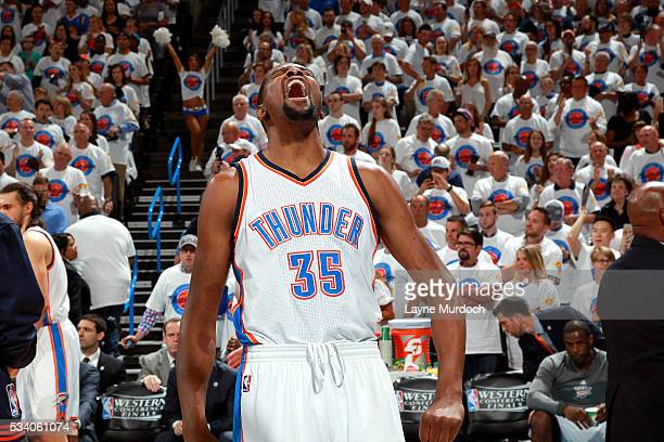 Kevin Durant of the Oklahoma City Thunder celebrates during the game tate Warriors in Game Four of the Western Conference Finals during the 2016 NBA...