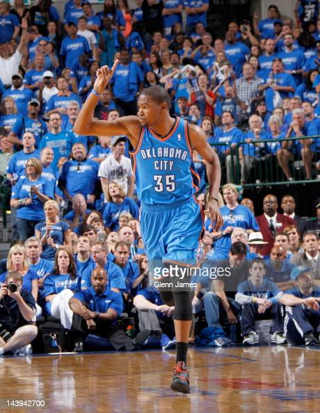 Kevin Durant of the Oklahoma City Thunder celebrates hitting a shot against the Dallas Mavericks in Game Four of the Western Conference Quarterfinals...