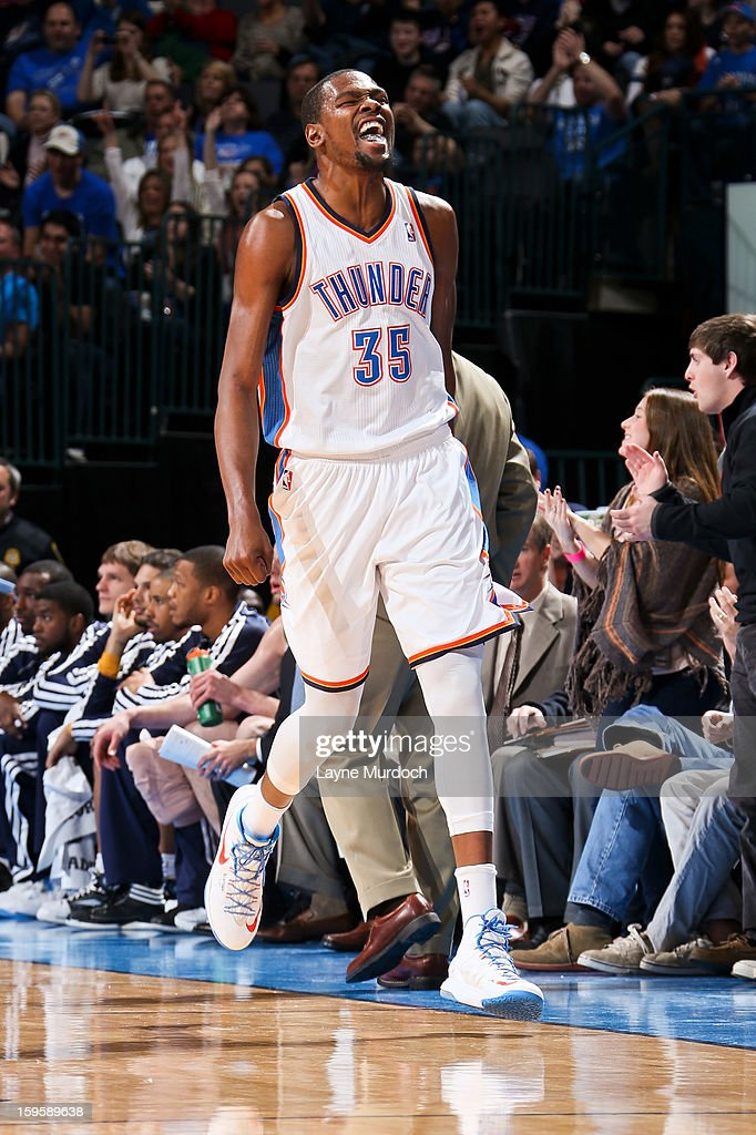 Kevin Durant #35 of the Oklahoma City Thunder celebrates while playing the Denver Nuggets on January 16, 2013 at the Chesapeake Energy Arena in Oklahoma City, Oklahoma.