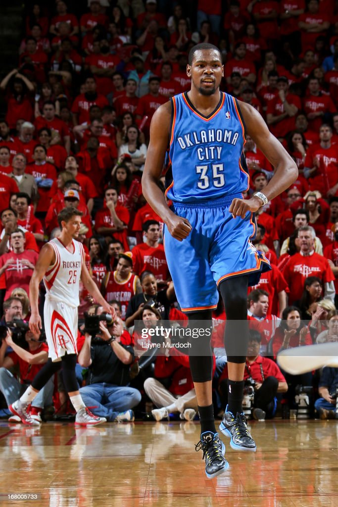 Kevin Durant #35 of the Oklahoma City Thunder celebrates while playing the Houston Rockets in Game Six of the Western Conference Quarterfinals during the 2013 NBA Playoffs on May 3, 2013 at the Toyota Center in Houston, Texas.