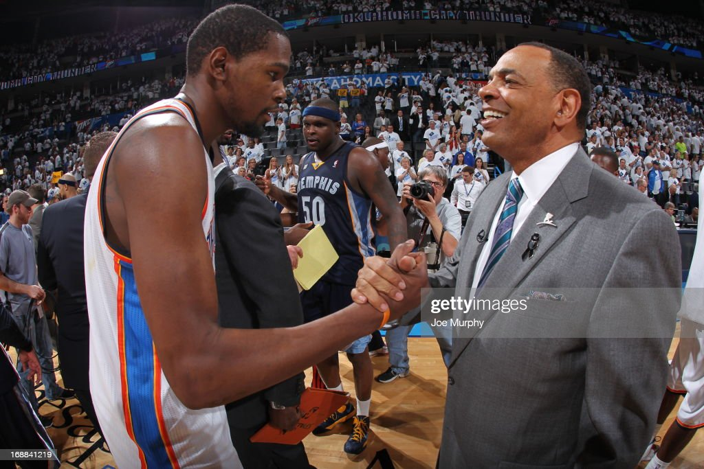 Kevin Durant #35 of the Oklahoma City Thunder congratulates Lionel Hollins, Head Coach of the Memphis Grizzlies after Game Five of the Western Conference Semifinals during the 2013 NBA Playoffs on May 15, 2013 at the Chesapeake Energy Arena in Oklahoma City, Oklahoma.