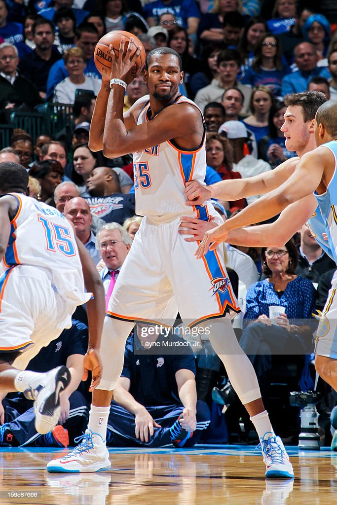 Kevin Durant #35 of the Oklahoma City Thunder controls the ball against the Denver Nuggets on January 16, 2013 at the Chesapeake Energy Arena in Oklahoma City, Oklahoma.