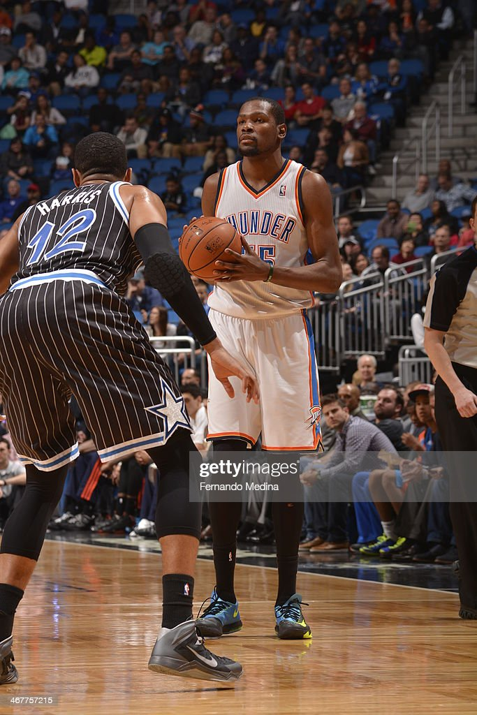 <a gi-track='captionPersonalityLinkClicked' href=/galleries/search?phrase=Kevin+Durant&family=editorial&specificpeople=3847329 ng-click='$event.stopPropagation()'>Kevin Durant</a> #35 of the Oklahoma City Thunder directs his team against the Orlando Magic during the game on February 7, 2014 at Amway Center in Orlando, Florida.