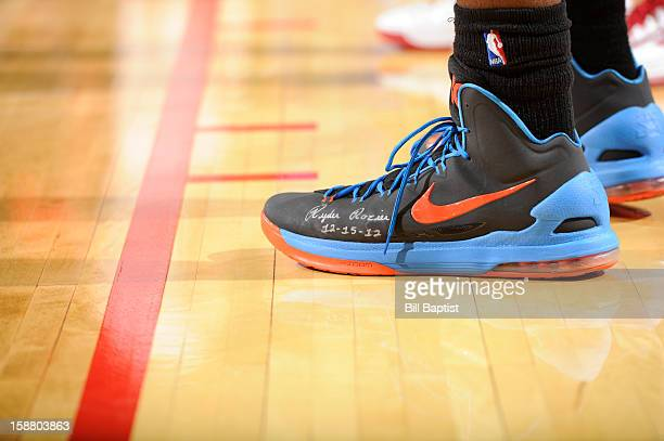 Kevin Durant of the Oklahoma City Thunder displays the name of Ryder Rozier a 3yearold who died after accidentally shooting himself on December 15...