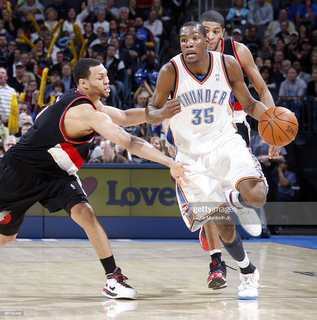 Kevin Durant #35 of the Oklahoma City Thunder dribbles the ball past Brandon Roy #1 of the Portland Trail Blazers on March 28, 2010 at the Ford Center in Oklahoma City, Oklahoma.