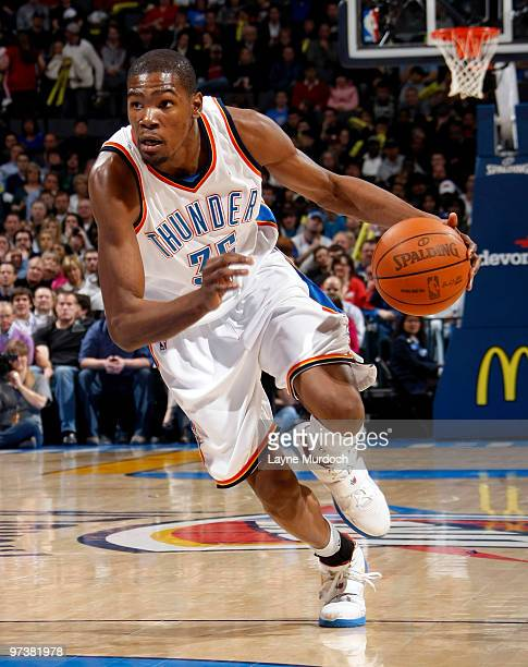 Kevin Durant of the Oklahoma City Thunder dribbles the ball up court during the game against the Sacramento Kings on March 2 2010 at the Ford Center...