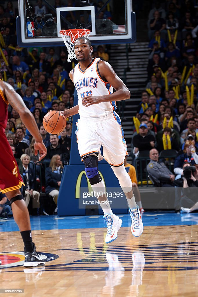 Kevin Durant #35 of the Oklahoma City Thunder dribbles up the court during an NBA game on November 11, 2012 at the Chesapeake Energy Arena in Oklahoma City, Oklahoma.