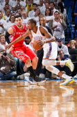 Kevin Durant of the Oklahoma City Thunder drives against Carlos Delfino of the Houston Rockets in Game Two of the Western Conference Quarterfinals...