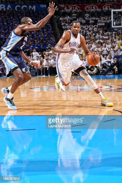 Kevin Durant of the Oklahoma City Thunder drives against Quincy Pondexter of the Memphis Grizzlies in Game Two of the Western Conference Semifinals...