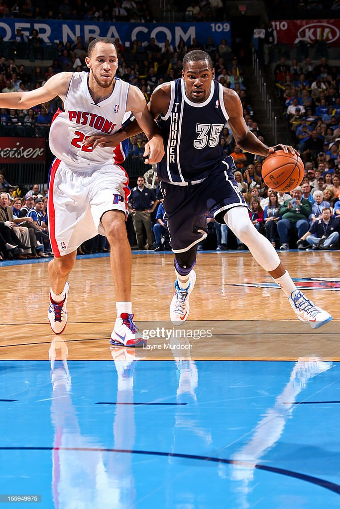 Kevin Durant #35 of the Oklahoma City Thunder drives against Tayshaun Prince #22 of the Detroit Pistons on November 9, 2012 at the Chesapeake Energy Arena in Oklahoma City, Oklahoma.