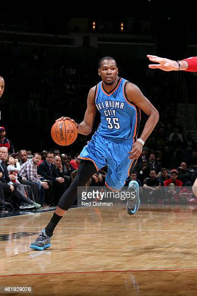 Kevin Durant of the Oklahoma City Thunder drives against the Washington Wizards on January 21 2015 at Verizon Center in Washington DC NOTE TO USER...