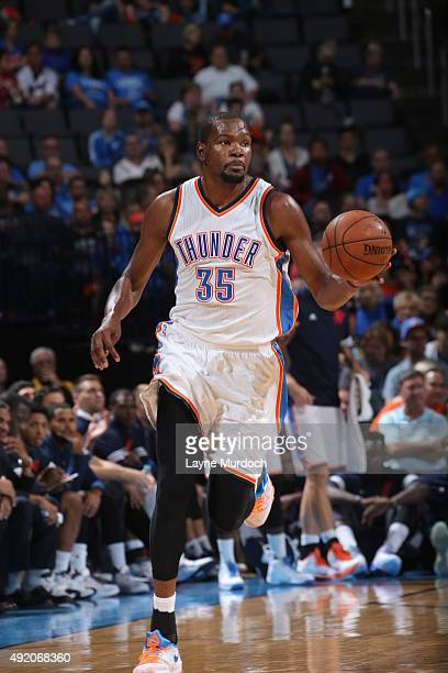 Kevin Durant of the Oklahoma City Thunder drives to the basket against Fenerbahce during a preseason game on October 9 2015 at Chesapeake Energy...