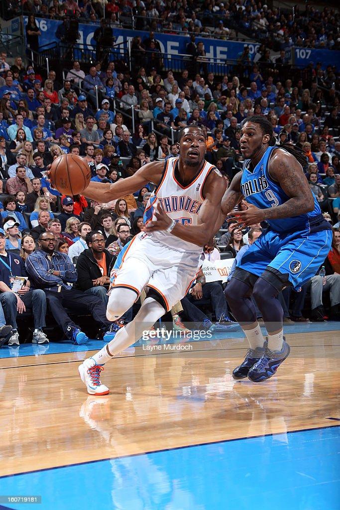 Kevin Durant #35 of the Oklahoma City Thunder drives to the basket against Jae Crowder #9 of the Dallas Mavericks on February 4, 2013 at the Chesapeake Energy Arena in Oklahoma City, Oklahoma.