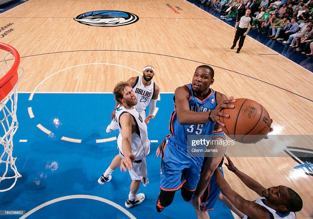 <a gi-track='captionPersonalityLinkClicked' href=/galleries/search?phrase=Kevin+Durant&family=editorial&specificpeople=3847329 ng-click='$event.stopPropagation()'>Kevin Durant</a> #35 of the Oklahoma City Thunder drives to the basket against the Dallas Mavericks on March 17, 2013 at the American Airlines Center in Dallas, Texas.