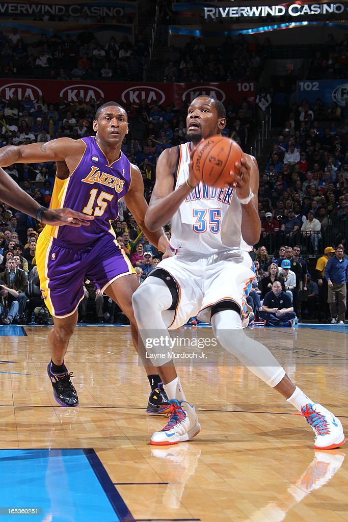 <a gi-track='captionPersonalityLinkClicked' href=/galleries/search?phrase=Kevin+Durant&family=editorial&specificpeople=3847329 ng-click='$event.stopPropagation()'>Kevin Durant</a> #35 of the Oklahoma City Thunder drives to the basket against the Los Angeles Lakers on March 05, 2013 at the Chesapeake Energy Arena in Oklahoma City, Oklahoma.