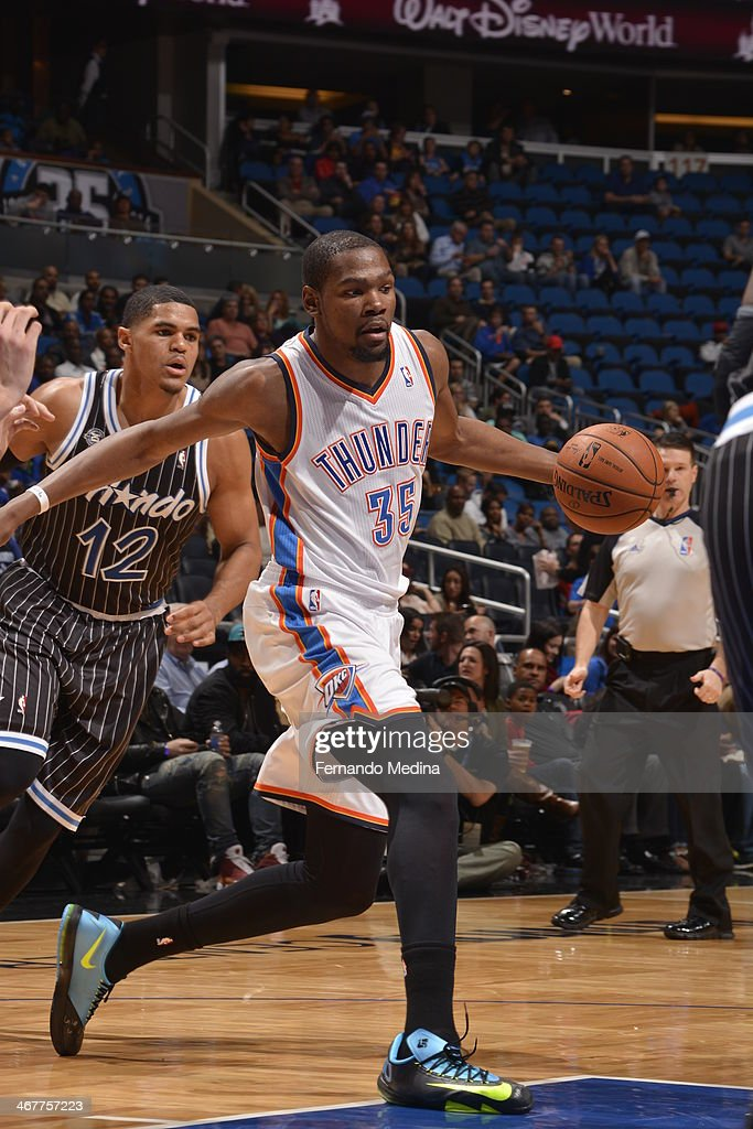 <a gi-track='captionPersonalityLinkClicked' href=/galleries/search?phrase=Kevin+Durant&family=editorial&specificpeople=3847329 ng-click='$event.stopPropagation()'>Kevin Durant</a> #35 of the Oklahoma City Thunder drives to the basket against the Orlando Magic during the game on February 7, 2014 at Amway Center in Orlando, Florida.
