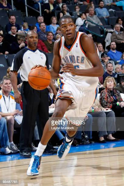 Kevin Durant of the Oklahoma City Thunder drives toward the goal during the game against the Houston Rockets on November 29 2009 at the Ford Center...