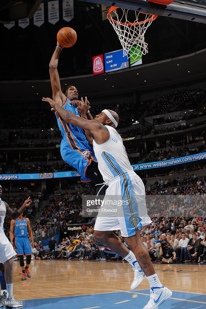 <a gi-track='captionPersonalityLinkClicked' href=/galleries/search?phrase=Kevin+Durant&family=editorial&specificpeople=3847329 ng-click='$event.stopPropagation()'>Kevin Durant</a> #35 of the Oklahoma City Thunder dunks against <a gi-track='captionPersonalityLinkClicked' href=/galleries/search?phrase=Al+Harrington&family=editorial&specificpeople=201645 ng-click='$event.stopPropagation()'>Al Harrington</a> #7 of the Denver Nuggets on March 15, 2012 at the Pepsi Center in Denver, Colorado.