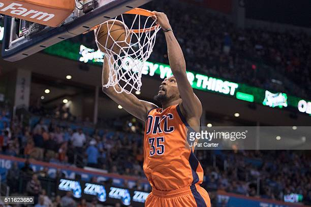 Kevin Durant of the Oklahoma City Thunder dunks against the Cleveland Cavaliers during the fourth quarter of a NBA game at the Chesapeake Energy...