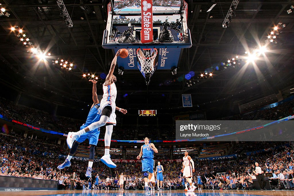 <a gi-track='captionPersonalityLinkClicked' href=/galleries/search?phrase=Kevin+Durant&family=editorial&specificpeople=3847329 ng-click='$event.stopPropagation()'>Kevin Durant</a> #35 of the Oklahoma City Thunder dunks against the Dallas Mavericks on December 27, 2012 at the Chesapeake Energy Arena in Oklahoma City, Oklahoma.