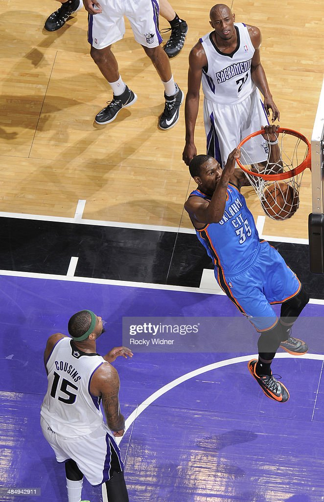 <a gi-track='captionPersonalityLinkClicked' href=/galleries/search?phrase=Kevin+Durant&family=editorial&specificpeople=3847329 ng-click='$event.stopPropagation()'>Kevin Durant</a> #35 of the Oklahoma City Thunder dunks against the Sacramento Kings on April 8, 2014 at Sleep Train Arena in Sacramento, California.