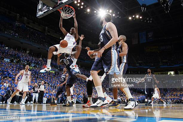 Kevin Durant of the Oklahoma City Thunder dunks against the Memphis Grizzlies in Game Seven of the Western Conference Semifinals during the 2011 NBA...