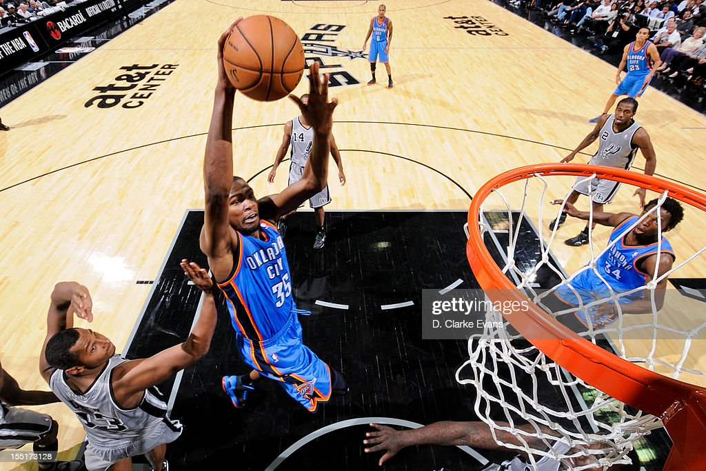 <a gi-track='captionPersonalityLinkClicked' href=/galleries/search?phrase=Kevin+Durant&family=editorial&specificpeople=3847329 ng-click='$event.stopPropagation()'>Kevin Durant</a> #35 of the Oklahoma City Thunder dunks against the San Antonio Spurs on November 1, 2012 at the AT&T Center in San Antonio, Texas.