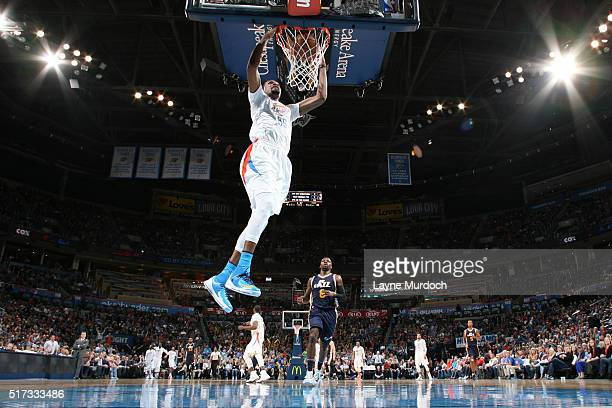 Kevin Durant of the Oklahoma City Thunder dunks against the Utah Jazz during the game on March 24 2016 at Chesapeake Energy Arena in Oklahoma City...