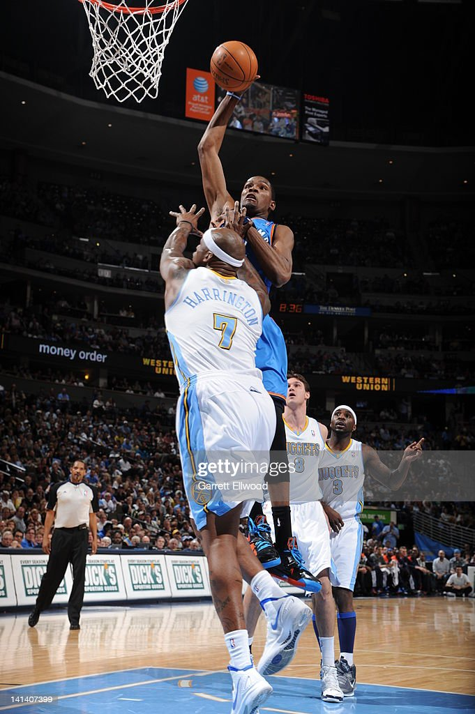 <a gi-track='captionPersonalityLinkClicked' href=/galleries/search?phrase=Kevin+Durant&family=editorial&specificpeople=3847329 ng-click='$event.stopPropagation()'>Kevin Durant</a> #35 of the Oklahoma City Thunder dunks over <a gi-track='captionPersonalityLinkClicked' href=/galleries/search?phrase=Al+Harrington&family=editorial&specificpeople=201645 ng-click='$event.stopPropagation()'>Al Harrington</a> #7 of the Denver Nuggets on March 15, 2012 at the Pepsi Center in Denver, Colorado.
