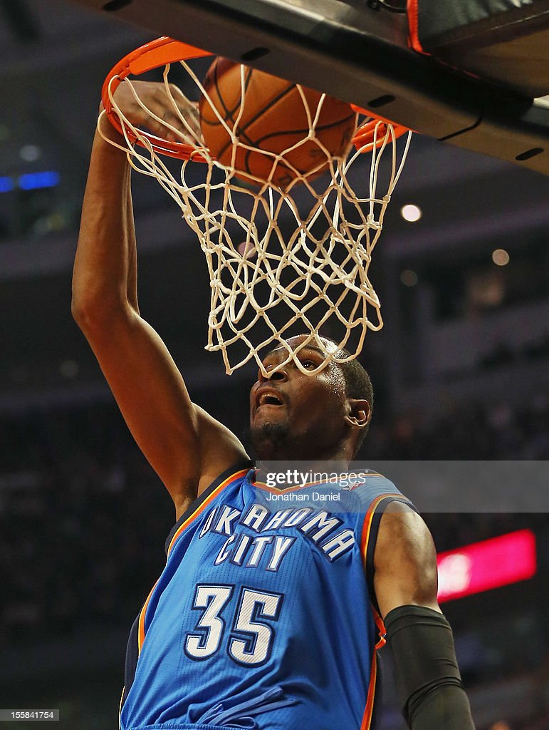 <a gi-track='captionPersonalityLinkClicked' href=/galleries/search?phrase=Kevin+Durant&family=editorial&specificpeople=3847329 ng-click='$event.stopPropagation()'>Kevin Durant</a> #35 of the Oklahoma City Thunder dunks the ball against the Chicago Bulls at the United Center on November 8, 2012 in Chicago, Illinois.